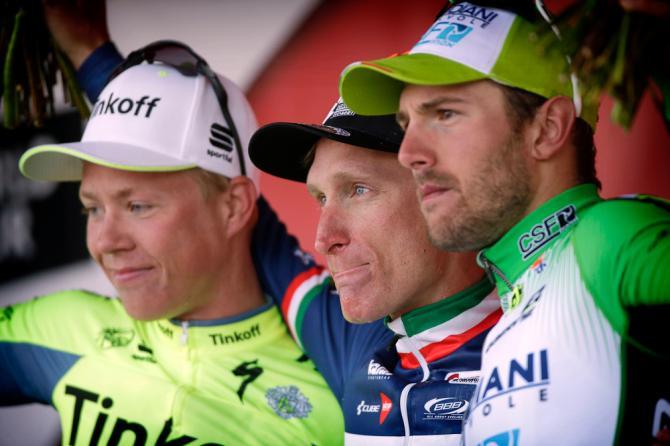 El podio de la Amstel Gold Race 2016. 1º Gasparotto, 3º Colbrelli