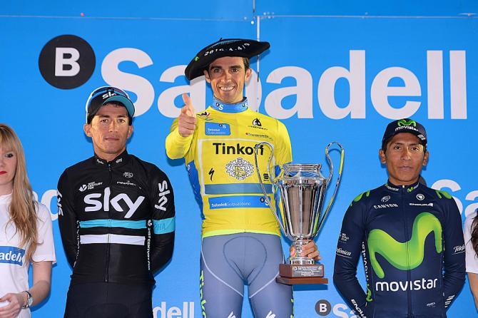 El podio final de la Vuelta al País Vasco 2016. Alberto Contador, Sergio Henao y Nairo Quintana.