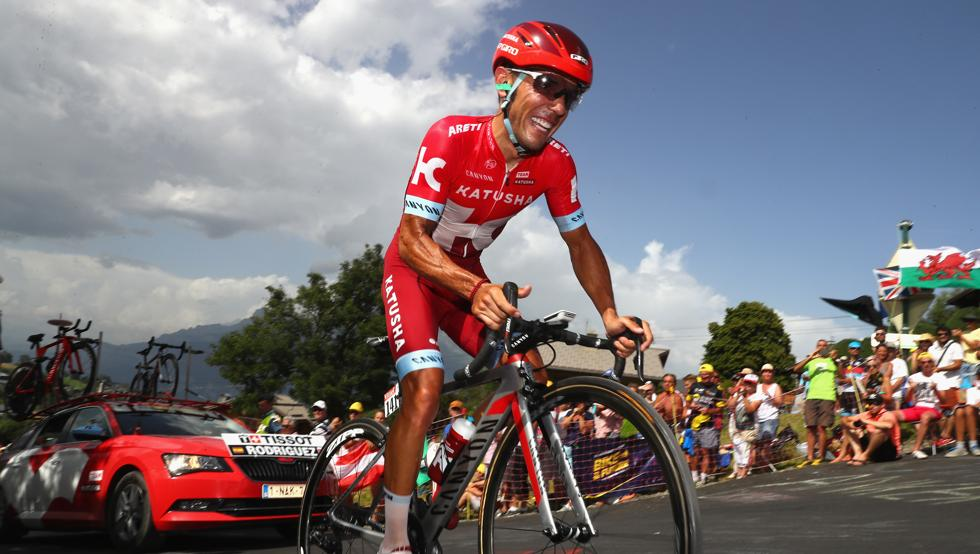 En la cronoescalada de Mègeve, Rodríguez logró un buen resultado, siendo octavo en línea de meta. © Tim de Waele
