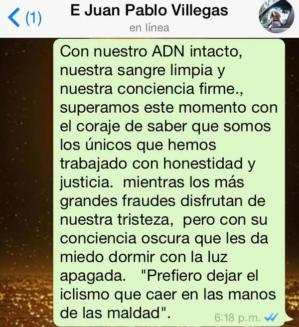 Whatsapps de Juan Pablo Villegas