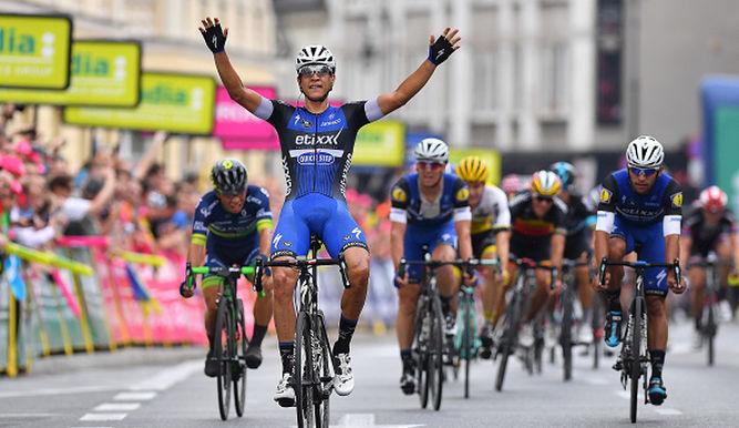 Martinelli celebra la victoria en la primera etapa del pasado Tour de Polonia. © Tim de Waele