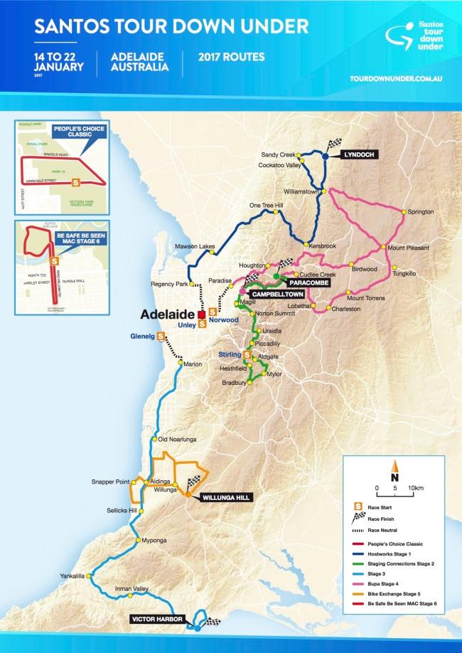 mapa Tour Down Under 2017